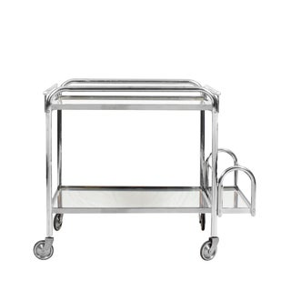 1930´s Art Deco Bar Cart by Jacques Adnet, Metal and Mirror - France For Sale