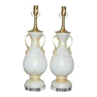 Vintage Murano Glass Table Lamps White Gold For Sale