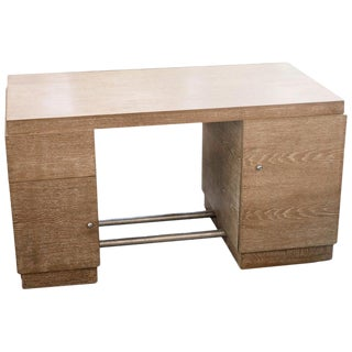 French Cerused Oak Desk, Manner of Jacques Adnet, France, 1940s For Sale