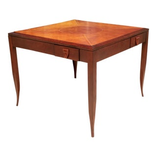 Mulholland Brothers Leather Stitched Top Game Table For Sale