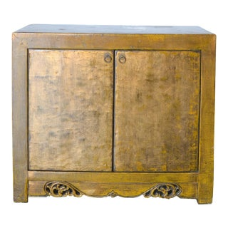 2000s Asian Modern/Art Deco Gold Lacquer Cabinet