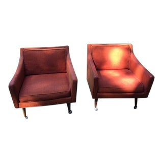 Milo Baughman forJames Inc. Orange Upholstered Chairs - a Pair For Sale