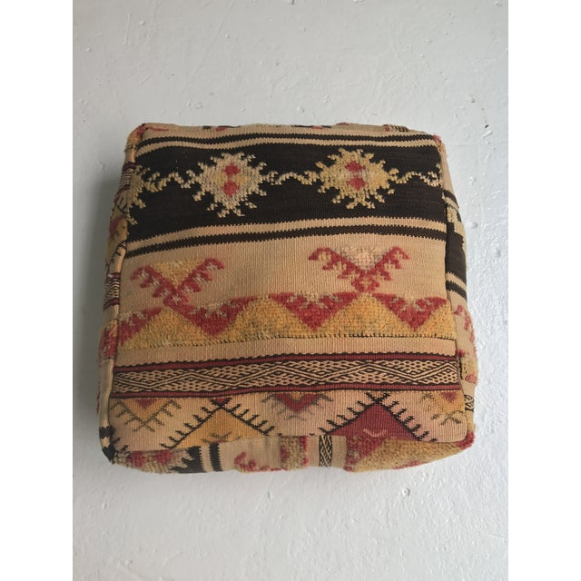 Moroccan Vintage Wool Pouf - Image 2 of 11