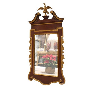 Walnut and Gilt Scroll Mirror For Sale