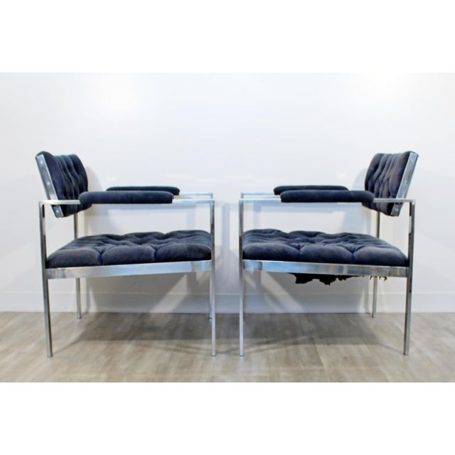 1970s 1970s Vintage Harvey Probber Mid Century Modern Chrome Lounge Chairs & Ottoman - Set of 3 For Sale - Image 5 of 12
