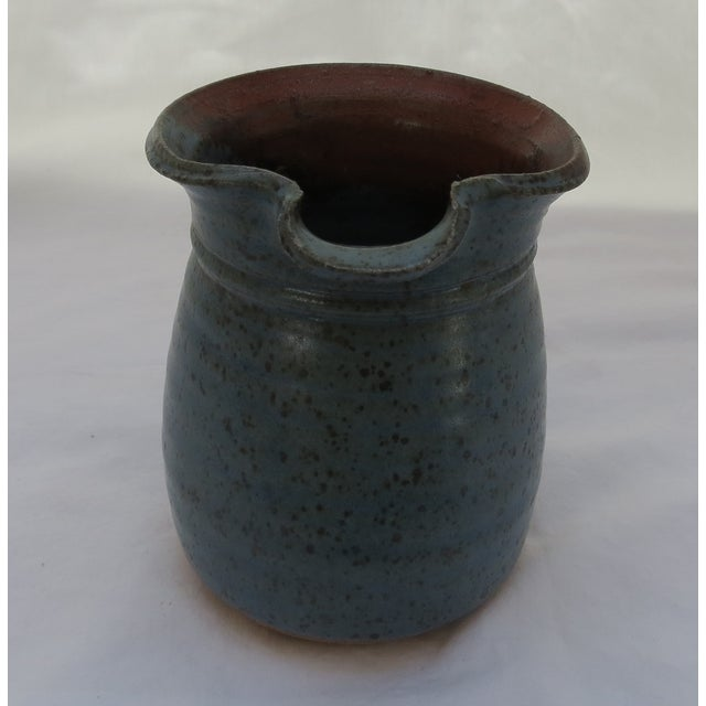 Earthenware Blue Pottery Pitcher For Sale - Image 4 of 5