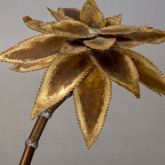 1960s Mid Century Brass Metal Flower Sculpture in Manner of Maison Jansen For Sale - Image 5 of 6