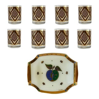 1970s Georges Briard Tumbler Glasses and Serving Tray - Set of 9 For Sale