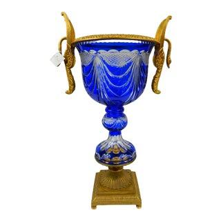 1990s Hand-Cut Cobalt Blue Crystal With Bronze Mounts Centerpiece. For Sale