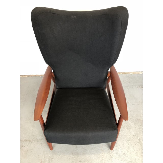 1960s Danish Modern Reclining Lounge Chair and Ottoman - 2 Pieces For Sale - Image 11 of 13