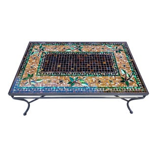 Frontgate Large Mosaic Tile Wrought Iron Table