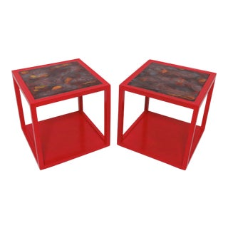 Pair of Edward Wormley for Drexel Precedent Side Tables With Tile Tops For Sale