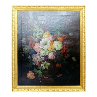 19th Century Gold Gilt Wood Framed Floral Still Life Oil on Canvas Painting For Sale