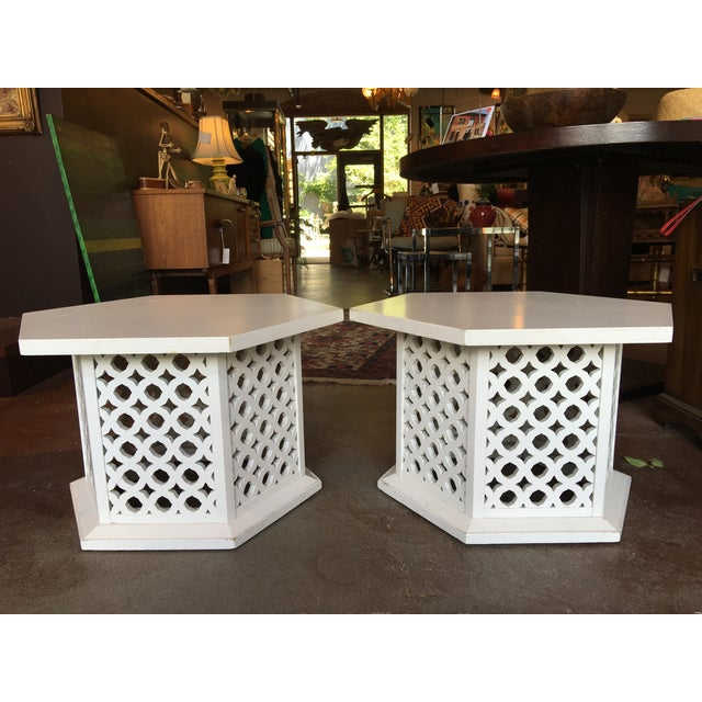 Vintage Hexagon Side Tables - A Pair - Image 2 of 6