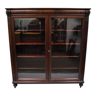 20th Century Empire Mahogany 2-Door 4-Shelf Bookcase For Sale