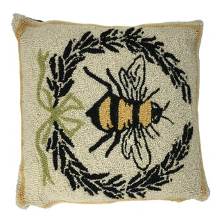 Bee Embroidered Wool Throw Pillow For Sale