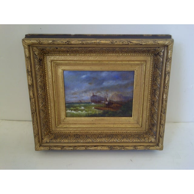"""Original Painting """"The Shipwreck,"""" Circa 1840. Unsigned. Beautiful opulent frame. No glass. Ready for display. The..."""
