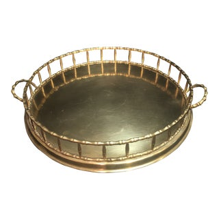 Vintage Faux Bamboo Polished Tray Handled Serving Tray For Sale
