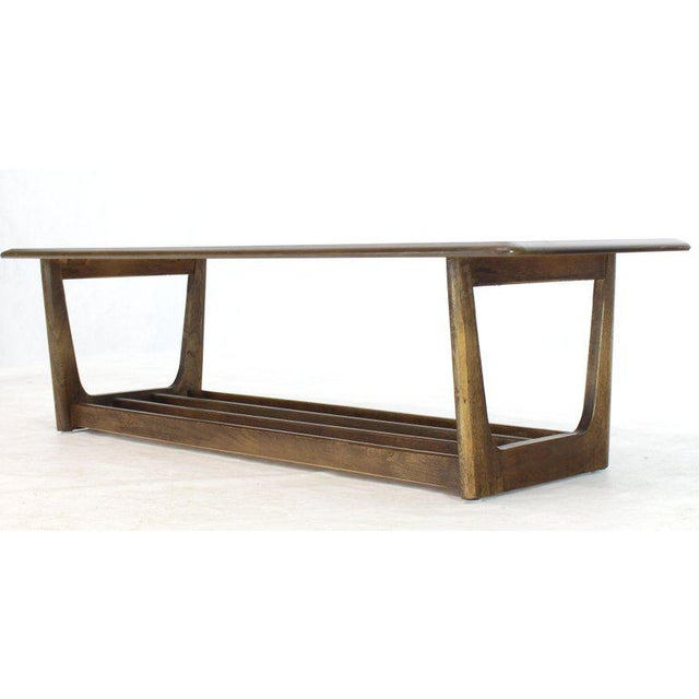 Wood Lane Rounded Rectangle Shape Two-Tier Walnut Coffee Table For Sale - Image 7 of 11