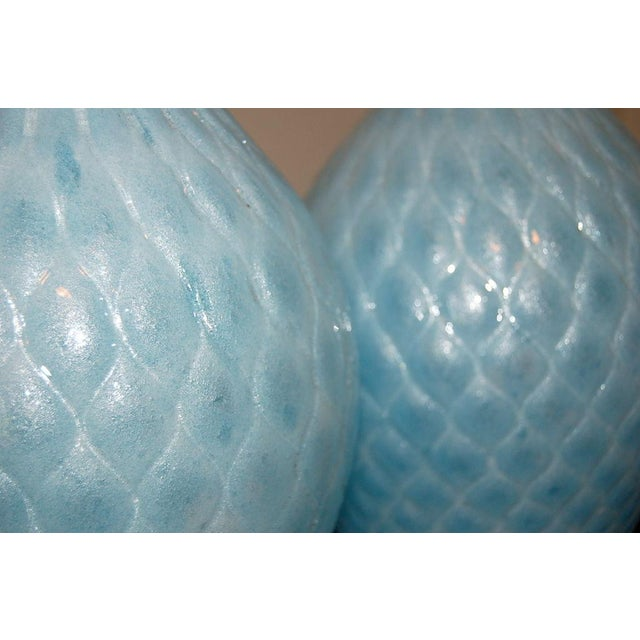Silver Galliano Ferro Vintage Murano Glass Table Lamps Blue For Sale - Image 8 of 9