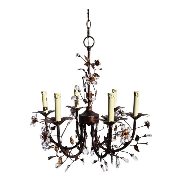 Dennis and Leen Custom Floral Detail Chandelier With Crystal For Sale