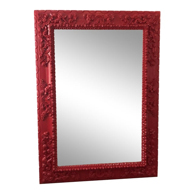 Red Lacquer Carved Wood Italian Floor Dressing Mirror by Randy Esada Designs For Sale