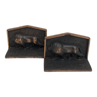 Antique Iron Lion Bookends With Copper Finish For Sale