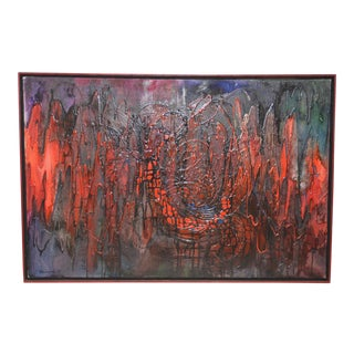 """Vintage 1960s Acrylic Abstract Painting """"E.K.G."""" by Chuchwar c.1967 For Sale"""