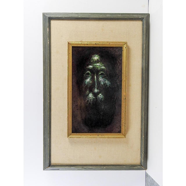 "Mythical portrait oil on board. Piece is unsigned and is displayed double wood frames, linen backing, image size 8.5""L x..."