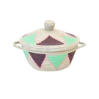 Handwoven Rwandan Sweetgrass Multicolor Lidded Coil Basket