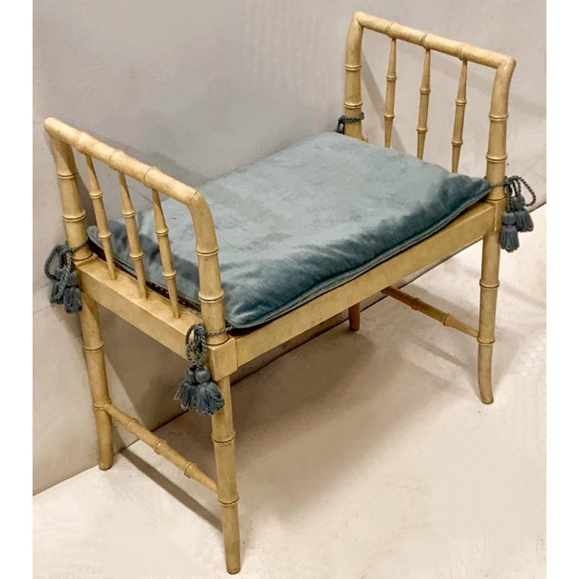 Chippendale 1960s Faux Bamboo Chippendale Style Bench by Baker Furniture For Sale - Image 3 of 6