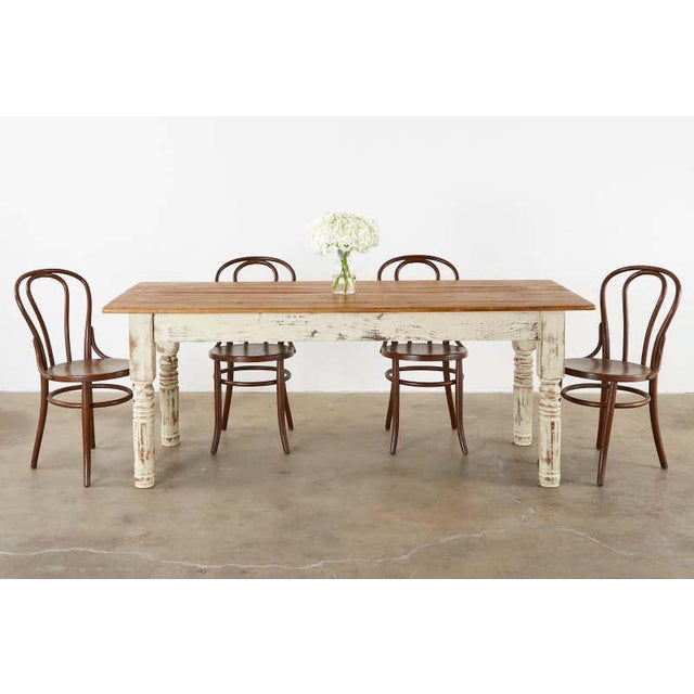 Rustic American Cream Painted Pine Farmhouse Dining Table Chairish