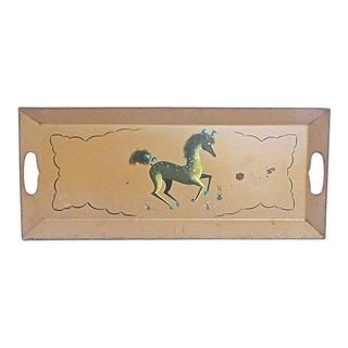 Vintage Hand-Painted Horse Tole Tray For Sale