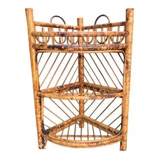 Mid 20th Century Burnt Bamboo 3 Tier Corner Shelf For Sale