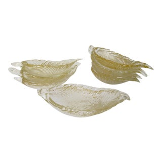 C.1950s Barovier Italian Murano Leaf-Shaped, Canapé or Finger Bowls -Set of 8 For Sale