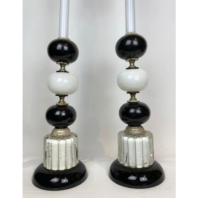 1940s Hollywood Regency Black & White Lamps - a Pair For Sale - Image 11 of 13