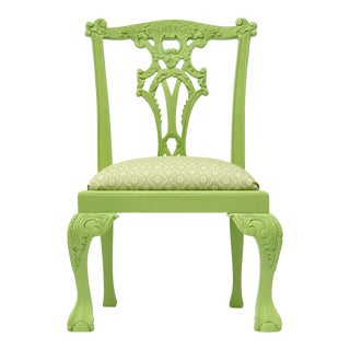 Vintage Green Child's Louis XV Chair For Sale