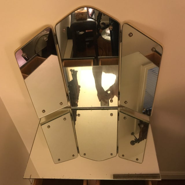 Glass 1940s Antique Mirrored Vanity For Sale - Image 7 of 11