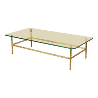 Mid-Century Brass Faux Bamboo Coffee Table