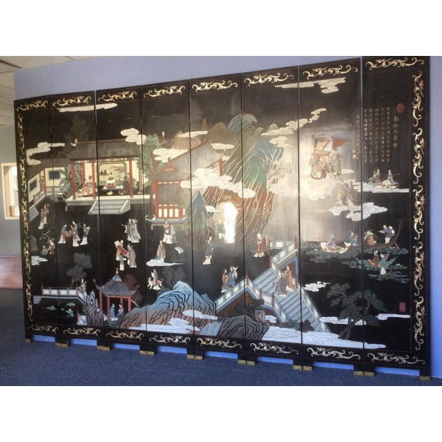 1920s Large Eight Panel Chinese Coromandel Screen For Sale - Image 5 of 7