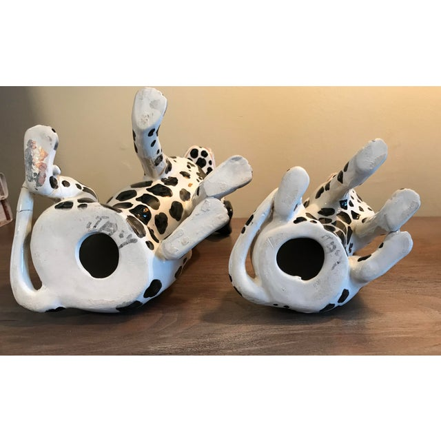 White Vintage Italian Ceramic Dalmatian Figurines - a Pair For Sale - Image 8 of 10