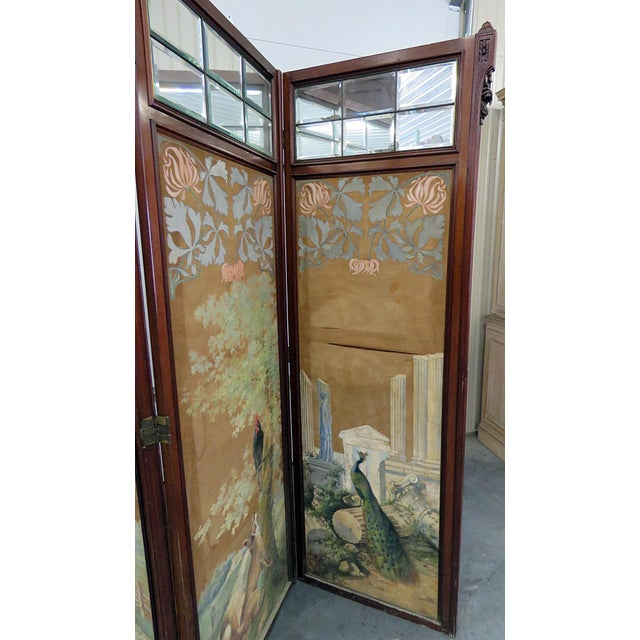 Brown Aesthetic Victorian 4 Panel Screen For Sale - Image 8 of 13