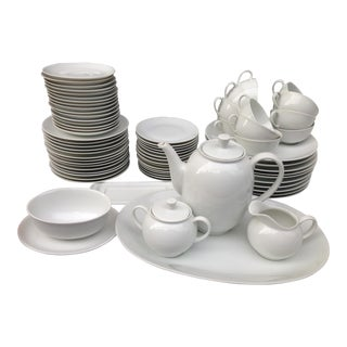 Mid-Century Arzberg German White Porcelain Dinnerware - Set of 72 For Sale