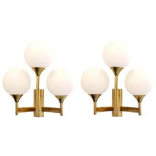 Mid-Century Modern Jakobsson Style White Globe & Brass Sconces