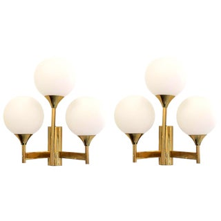 Mid-Century Modern Jakobsson Style White Globe & Brass Sconces - a pair For Sale