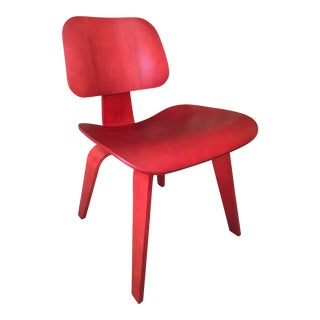 8 Eames DCW's Red Anilin Dye Dinning Chairs For Sale