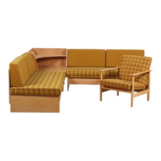 Vintage Mid Century 'Swan' Corner Sofa and Armchair For Sale