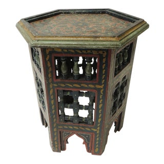Moroccan Rustic Artisanal Vintage Hand-Painted Low Side Table For Sale