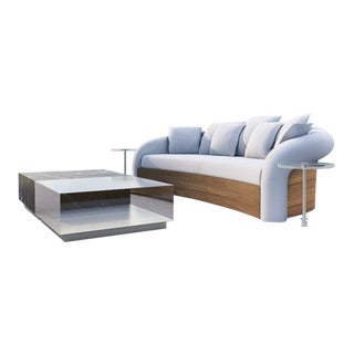 Hollywood Collection Teak and Fabric Outdoor Sofa by Artist Hector Landgrave For Sale