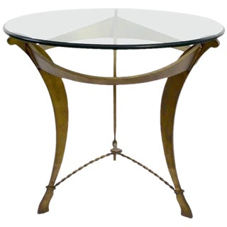 Cut Steel and Glass Brutalist Table For Sale